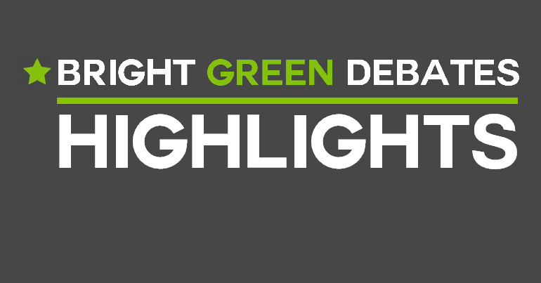 "A grey background with a green star and text reading ""Bright Green Debates highlights"""