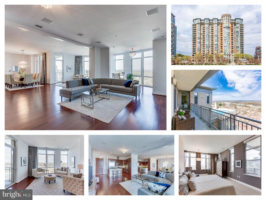 ***OPEN HOUSE SUNDAY 4/28 FROM 2-4PM*** One of a kind 4 BDR | 4.5 BATH | 2 Balconies | 4 Parking Spots | 2 Storage Units | 2 Dogs Allowed | 3460 SFThis exclusive Penthouse features expansive top-floor views set in a private & secure complex.  Once 2 separate units, this one-of-a-kind home has an open floor plan beaming with natural light and spectacular views. This spacious condo includes  4 bedrooms, both masters with balconies, 2 gourmet kitchens with Viking appliances, 4.5 luxurious baths, and a spacious living/dining/entertaining areas. The generously proportioned interior flows effortlessly from the open-plan living space to the private covered balconies from which you can admire the unobstructed views. This building has it all - as a resident you will have access to lifestyle amenities including a rooftop pool, fitness center, 18th floor sky bar, concierge service and underground secured parking.  Enjoy having Harris Teeter & Starbucks right outside your door and minutes to Tysons Corner Mall, Restaurants and METRO.