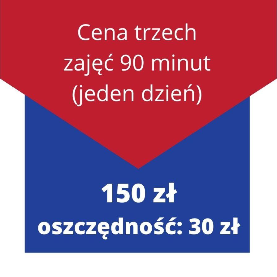 Cena trzech zajęć 90 minut (jeden dzień) 150 zł- oszczędność: 30 zł