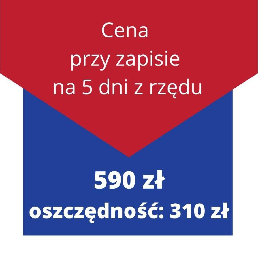 Cena przy zapisie na 10 dni z rzędu: 590 zł - oszczędność: 310 zł