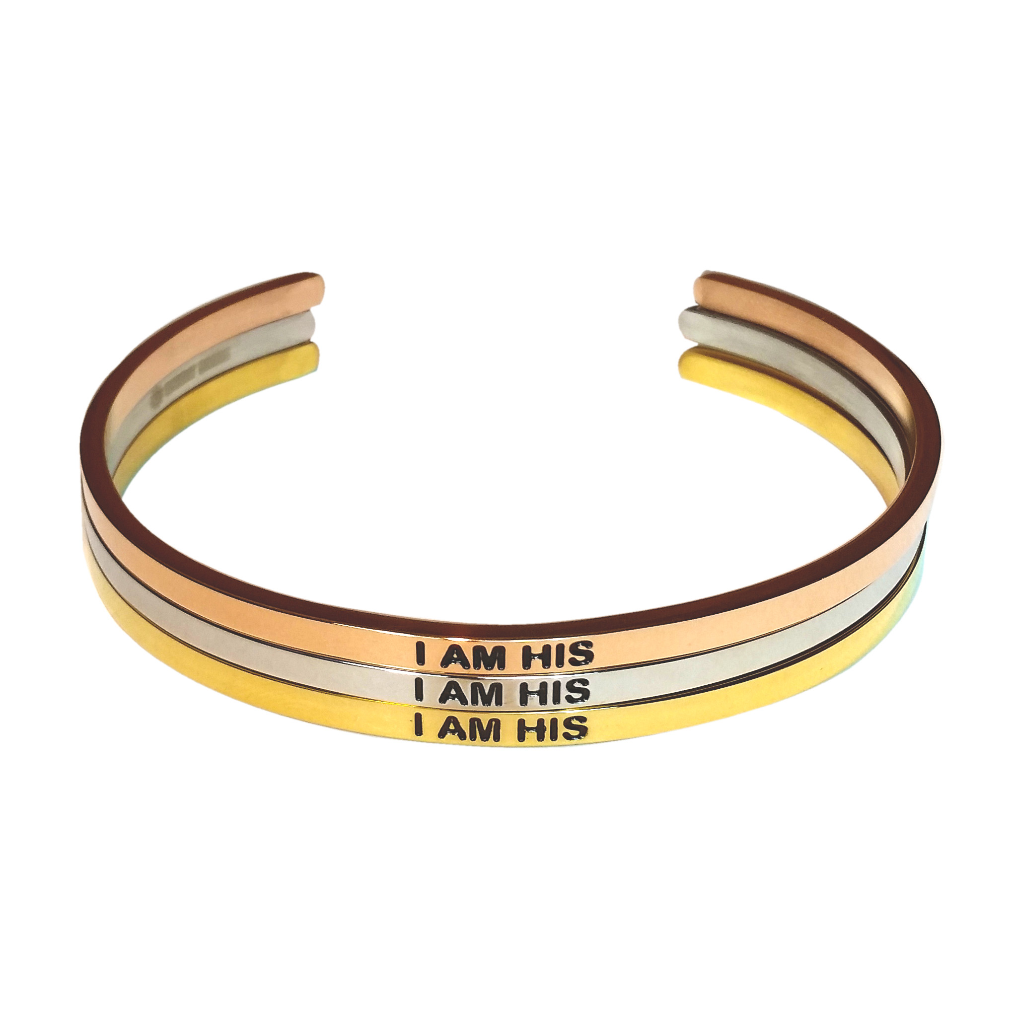 I AM HIS Bangles. Gold, Silver, Rose Gold Jewelry.