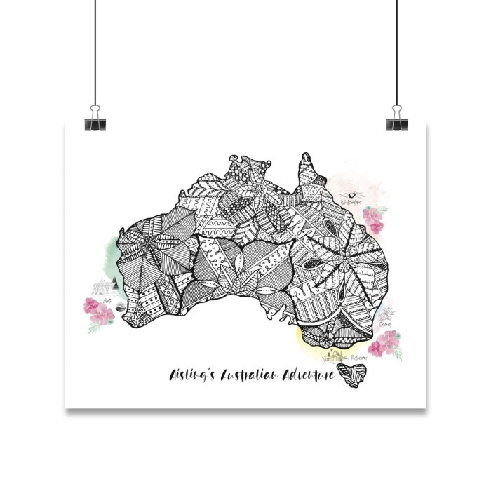 Mandala design inside the shape of Australia and some locations within Australia are highlighted with colours and icons