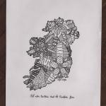 Mandala design inside the shape of Ireland