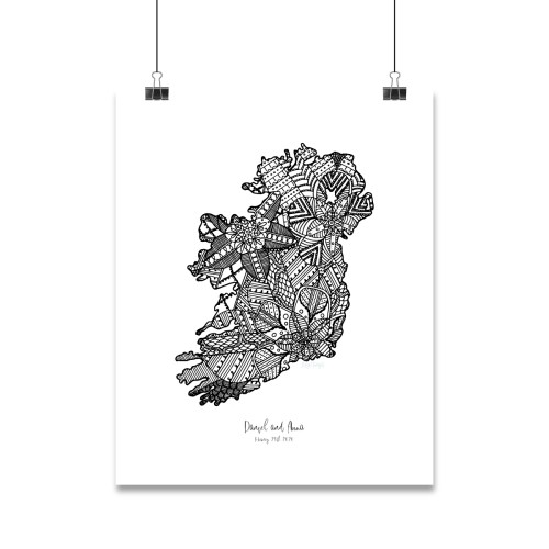 Personalised mandala map design inside the shape of Ireland with a heart icon marling the location of an engagement