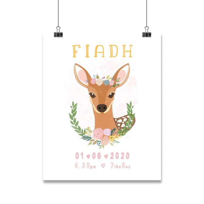 Personalised baby animal print. Deer with floral elements and personalised information about the baby below