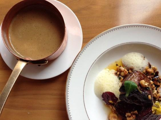 Chestnut Soup with Foie Gras, Cotechino, Hazelnuts