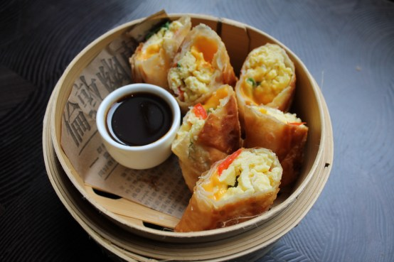 us shot - brunch - egg and cheese breakfast spring roll