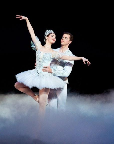 Ballet West First Soloist Elizabeth McGrath and Soloist Christopher Anderson, in Willam Christensen's The Nutcracker, photo by Luke Isley