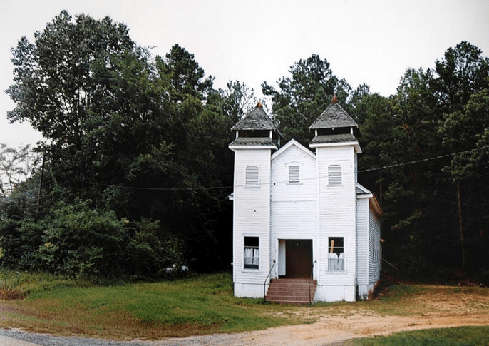 William Christenberry, Church, Sprott, Alabama, 1981, archival pigment print. Image from Hemphill Fine Art