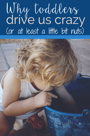 why toddlers drive us crazy - girl toddler peering into a blue bucket