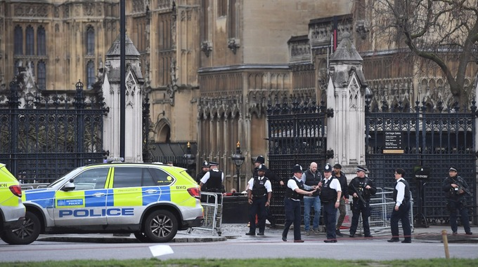 A man was shot and a police officer stabbed outside the Houses of Parliament today