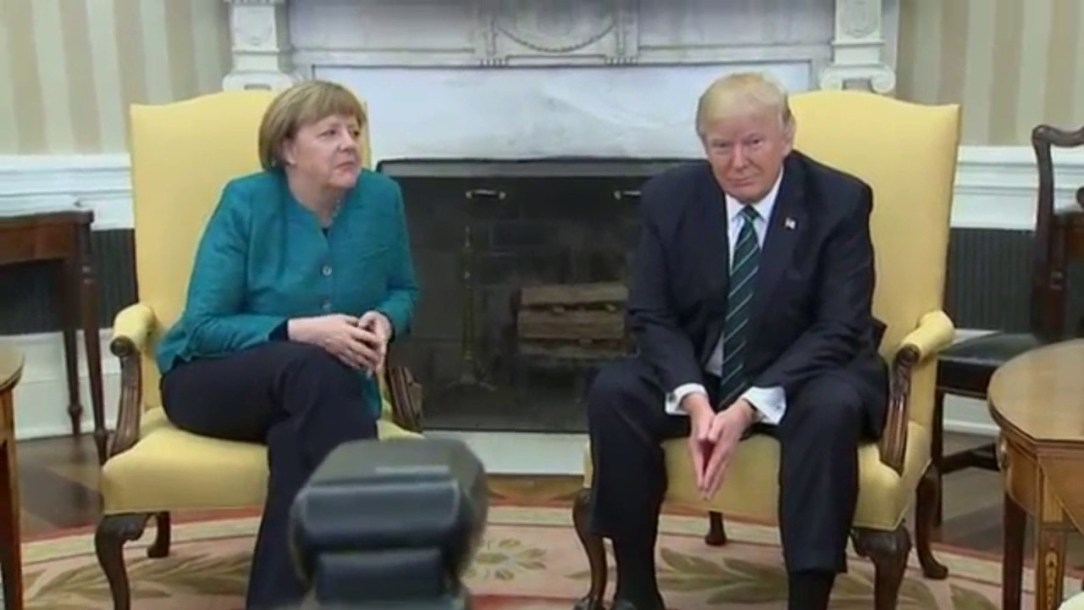 Trump refused to shake hands with the German chancellor during awkward visit at the White House