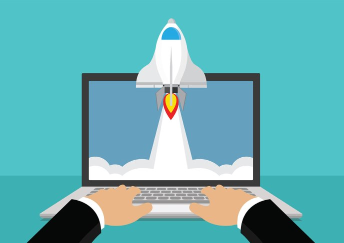 cartoon of man launching a website