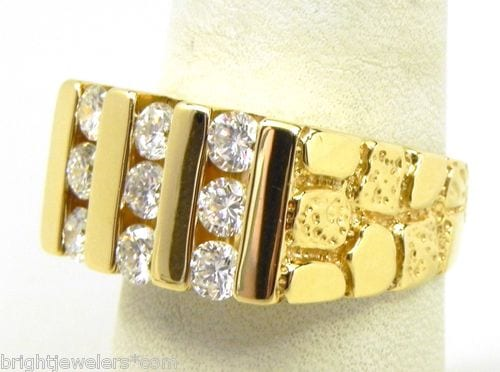 Mens 14k Yellow Gold 1 Cts Diamonds Nugget Ring Bright
