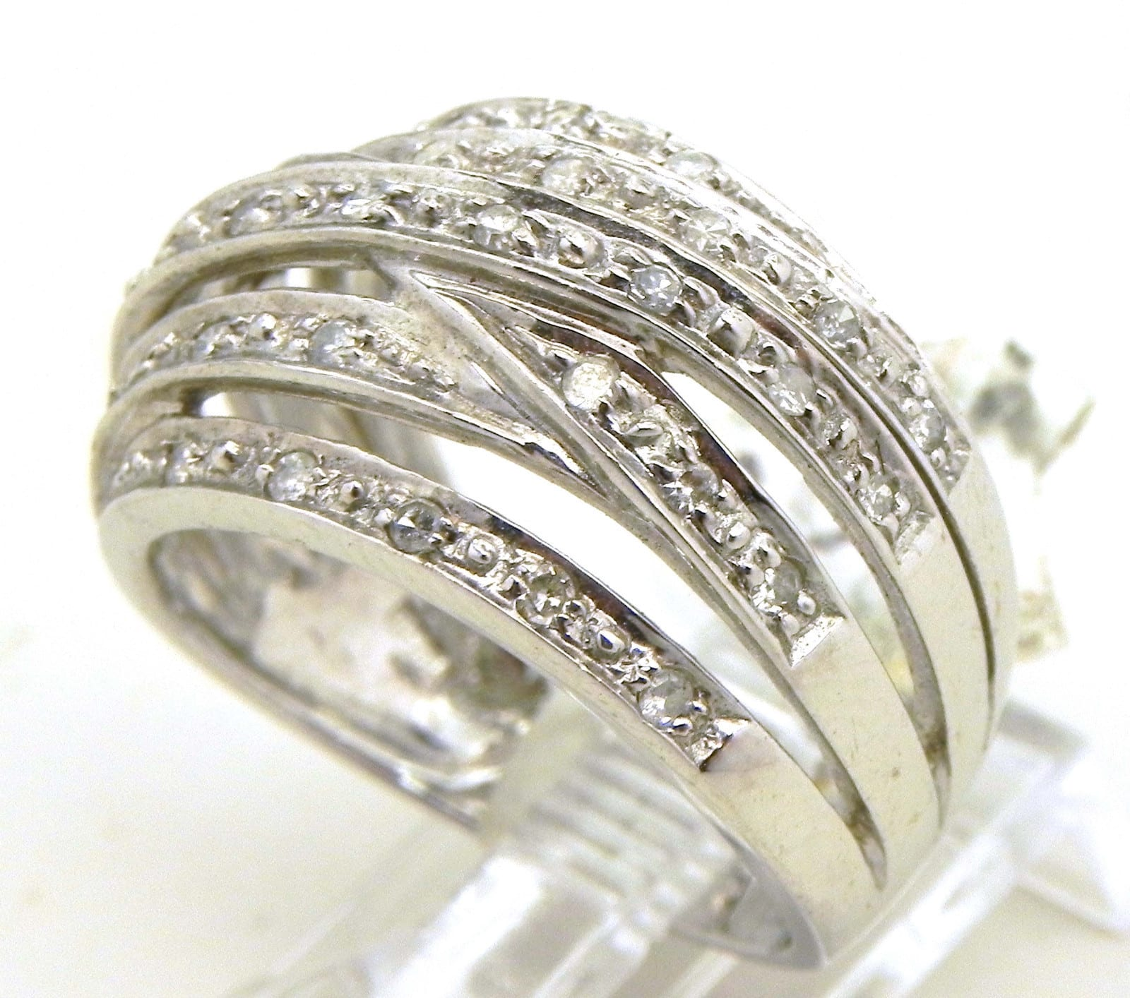Ladies 14k White Gold Diamonds Criss Cross Ring Bright