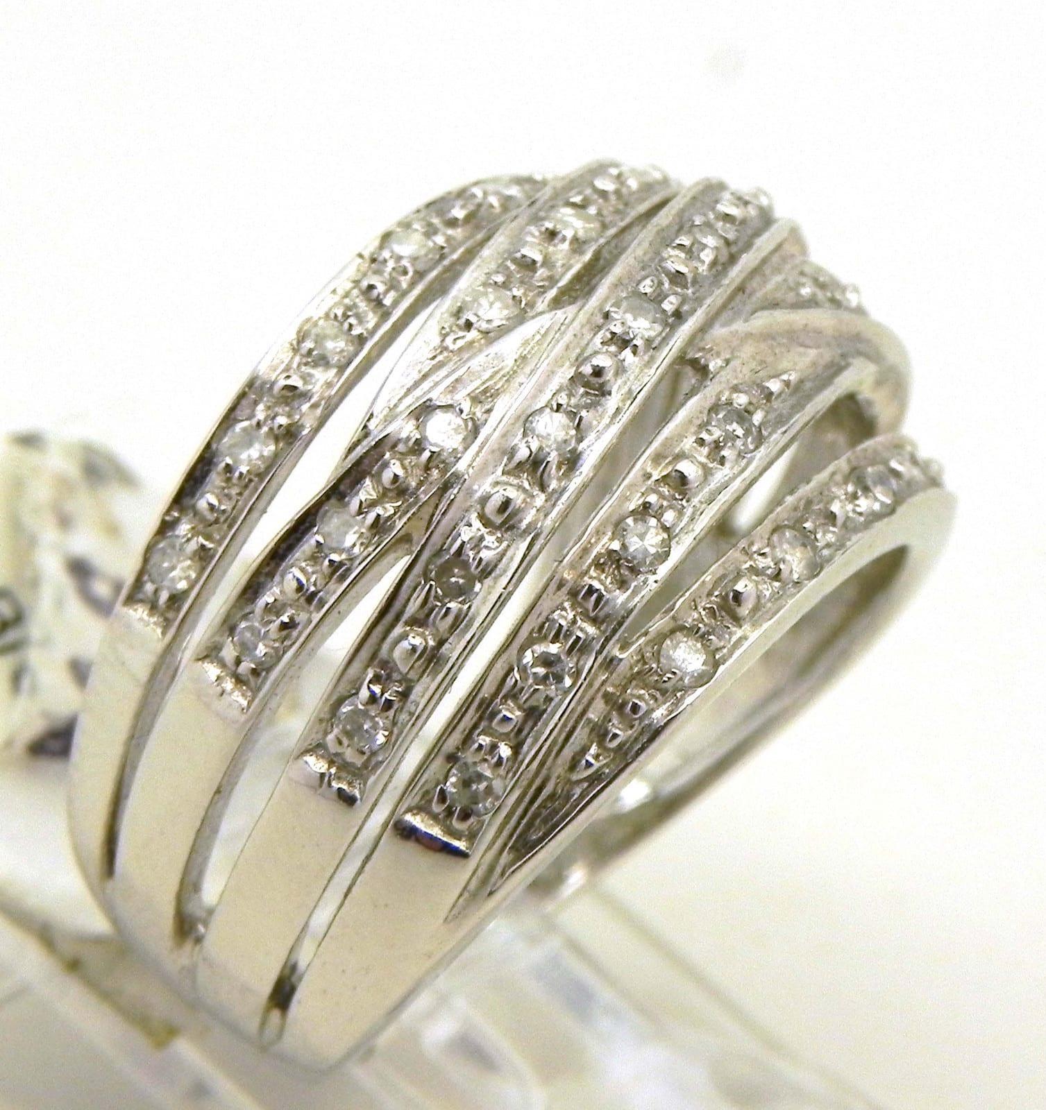 Ladies 14k White Gold Diamonds Criss Cross Ring Bright