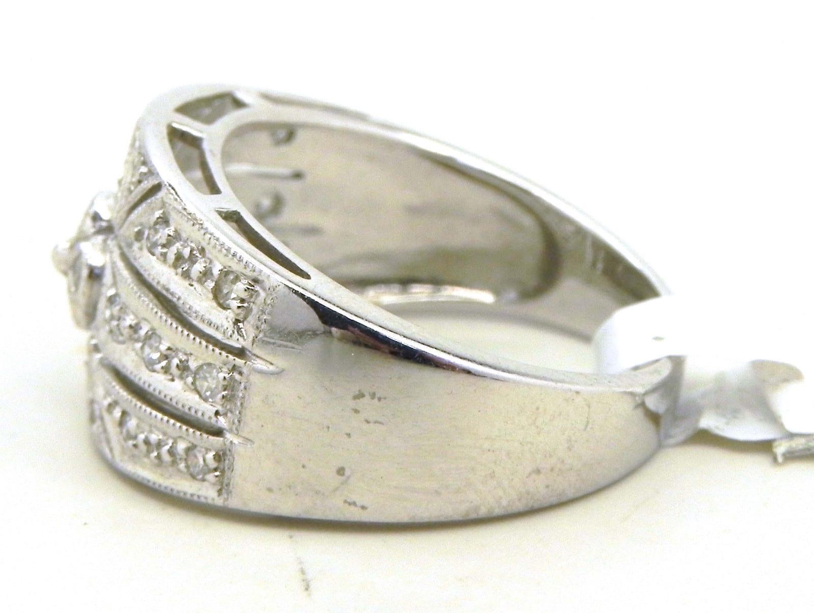 Ladies 14k White Gold Amp Diamond Filigree Band Ring