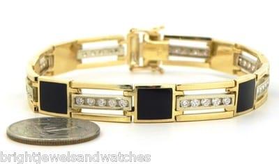 Mens 14k Yellow Gold 2 Cts Diamonds Squared Black Onyx