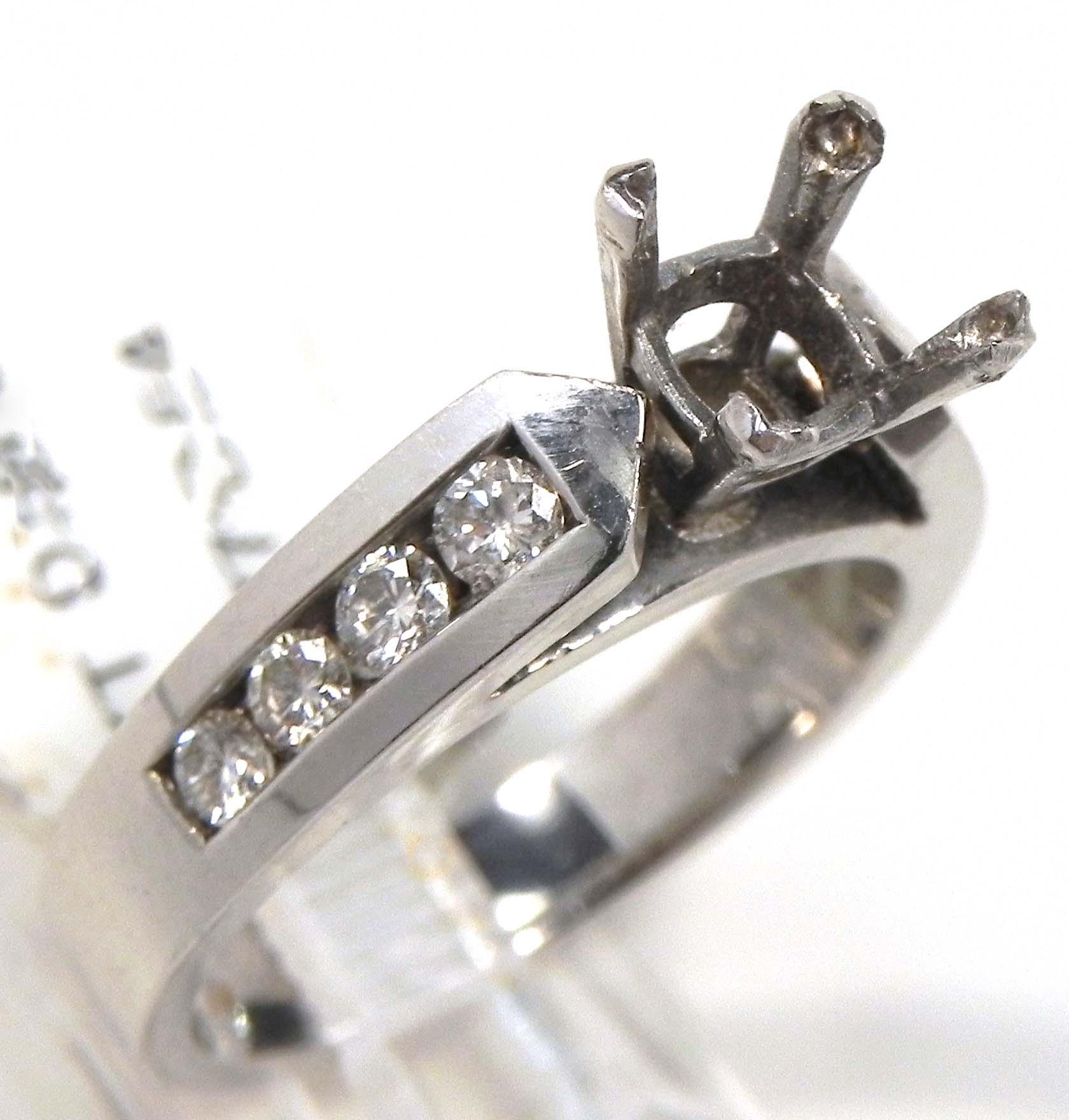 Ladies 14k White Gold Diamonds Semi Mount Engagement Ring