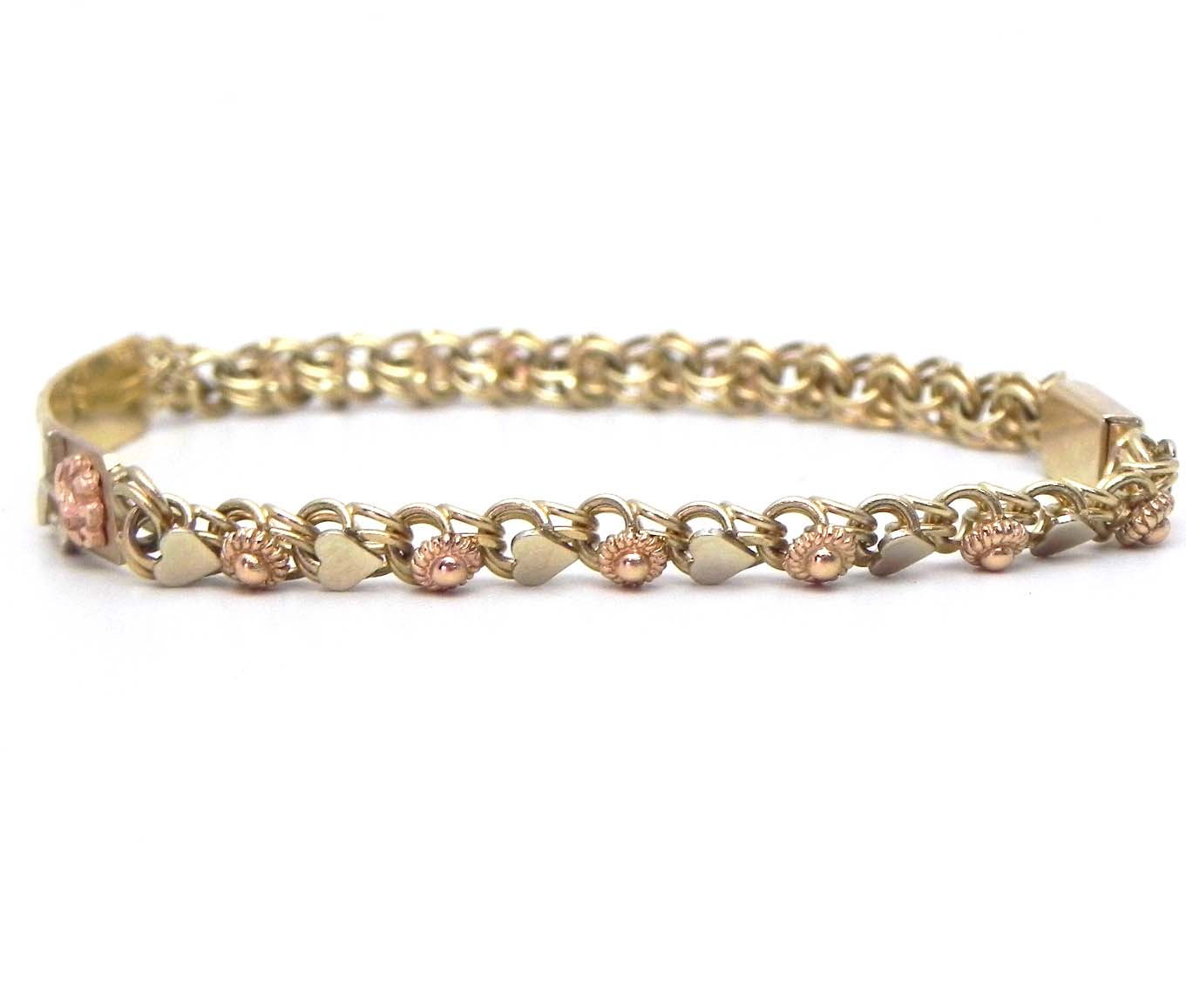 Little Girls 14k Tri Tone Gold Hearts Amp Rose ID Bracelet