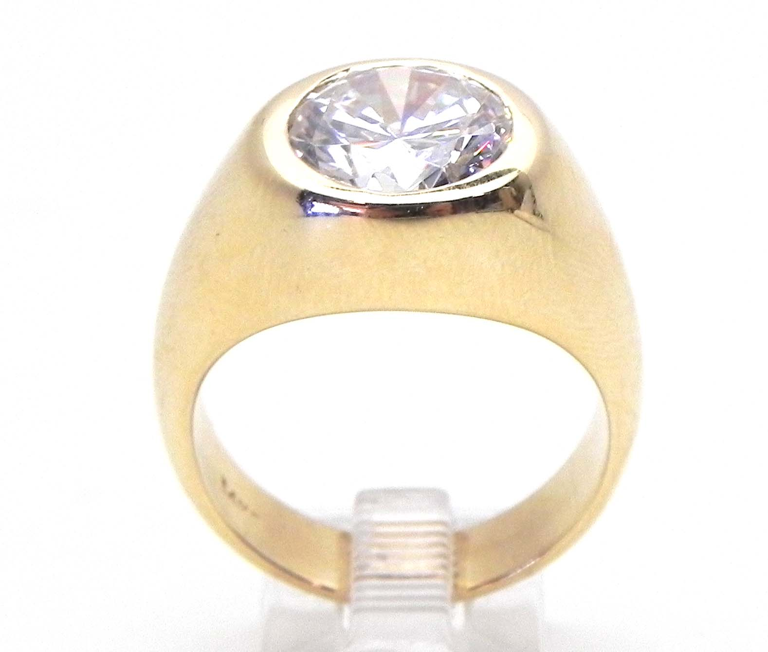 Mens 14k Yellow Gold Gypsy Ring WRound Cubic Zurconia