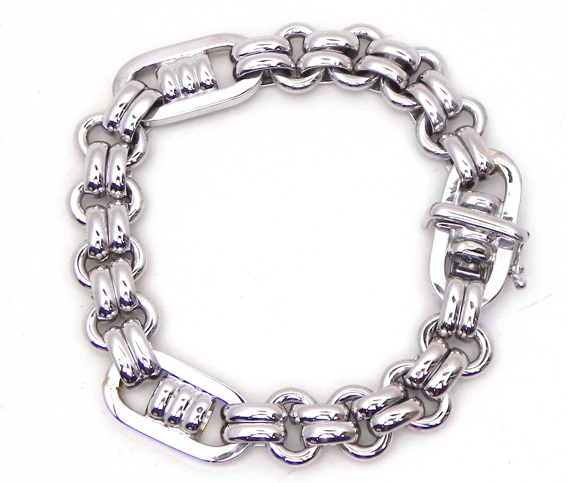 Ladies 18k White Gold Multi Oval Link Donut Bracelet
