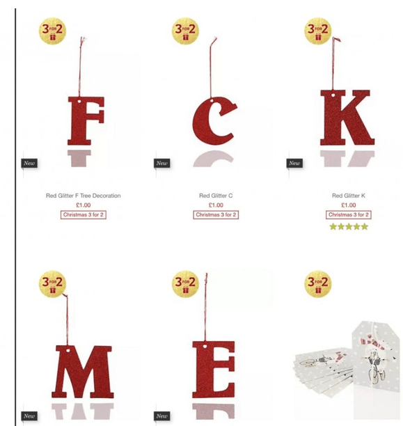 F,C,K, M and E Marks and Spencer!