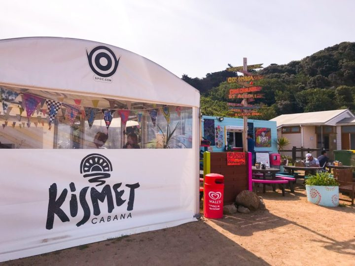 Kismet Cabana, an outside, street food kind of set up right on the beach in a bay in Jersey