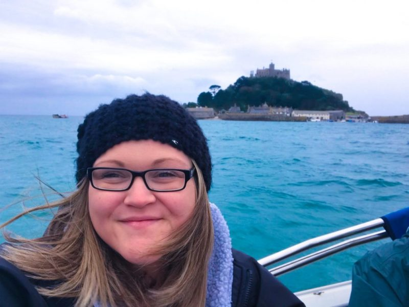 Bex on the boat on the way to St. Michael's Mount on a very overcast and rainy day.