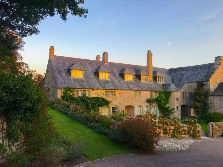 Trerice, an Elizabethan Manor House in Cornwall is bathed in the golden glow of the sunset