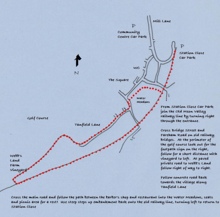A map of the walk around Wickham Water Meadows - this image belongs to Wickham Parish Council.