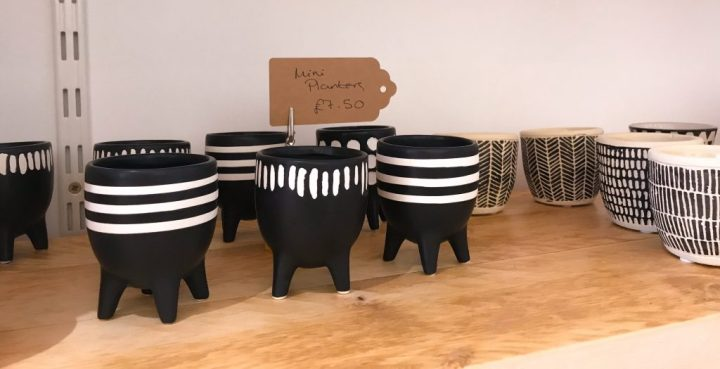 Plant pots at Lifestyle and wellness shop, Coastal Remedy on Marmion Road in Southsea, Portsmouth, Hampshire