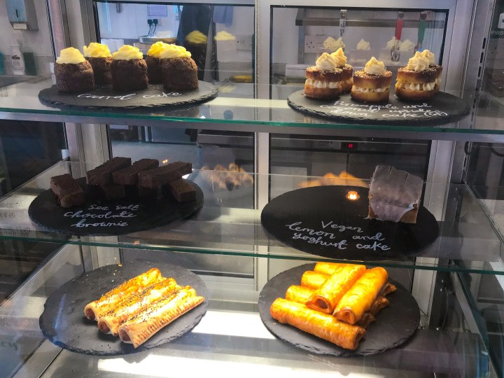 Cakes at Cafe Fresco by Canoe Lake in Southsea, Portsmouth, Hampshire