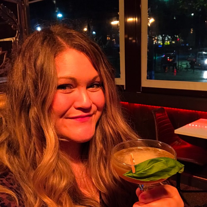 Bex drinking a Thai Daquiri at Kala Thai in Bournemouth, Dorset