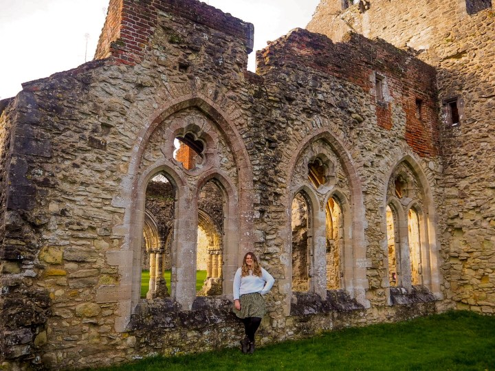 Bex stood by the window at Netley Abbey in Southampton, Hampshire
