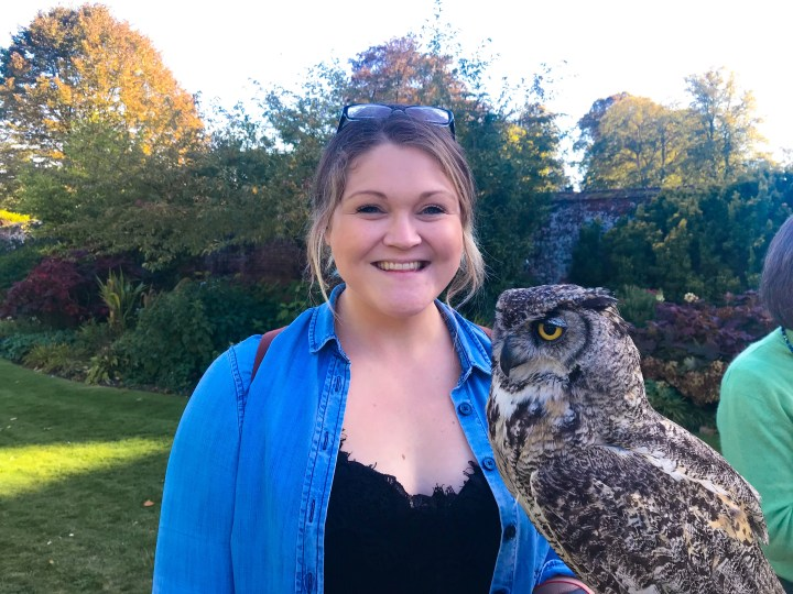 Holding an owl at The Hospital of St Cross in Winchester