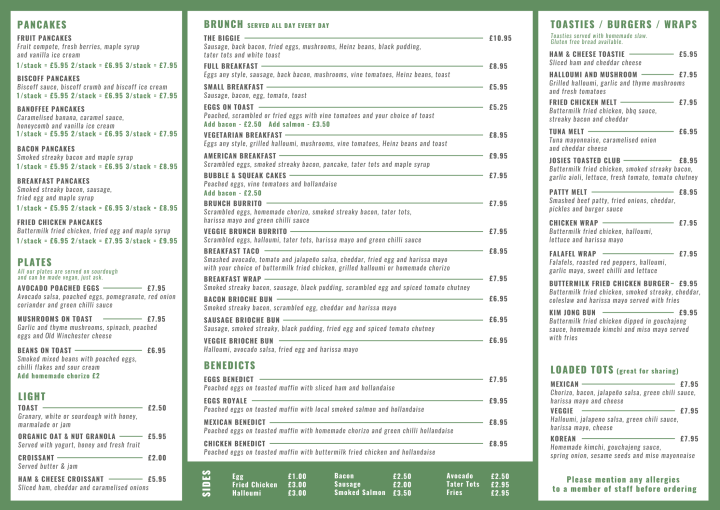 An example of the menu and dishes at Josie's cafe in Hampshire
