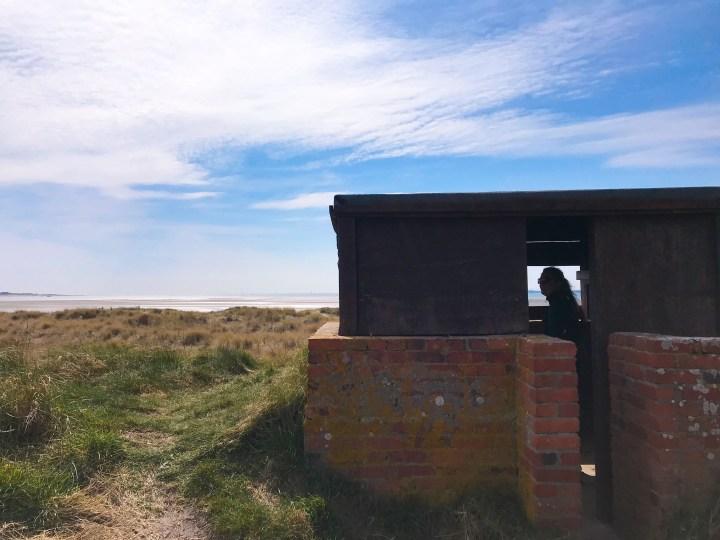 A bird watching hut on the walk around Thorney Island