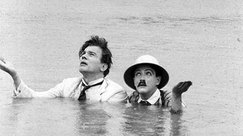 The finale of the Cuba sequences in Too Much Johnson, with the forlorn lover (Cotten) and cuckolded husband (Barrier) stranded in a pond together.