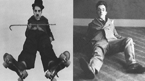 Charlie Chaplin (left) and Stan Laurel
