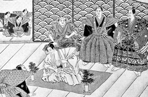 Illustration of a scene of hara-kiri in the Japanese theater, made by Kubota Seiko for the American magazine Outing in 1894. Public domain image obtained through Wikimedia Commons.