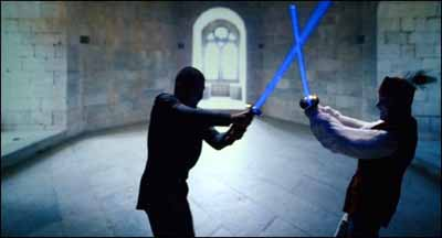 Hamlet and Laertes fight - with lightsabers?