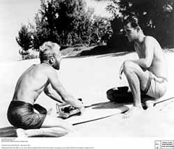 Bruce Brown and Robert August during the filming of the Endless Summer