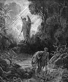 Gustave Dore's etching of the expulsion of Adam and Eve from the Garden of Eden