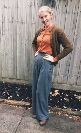 Trouaers: Vivien of Holloway / Top: Lindy Bop / Cardigan: Elise Boutique