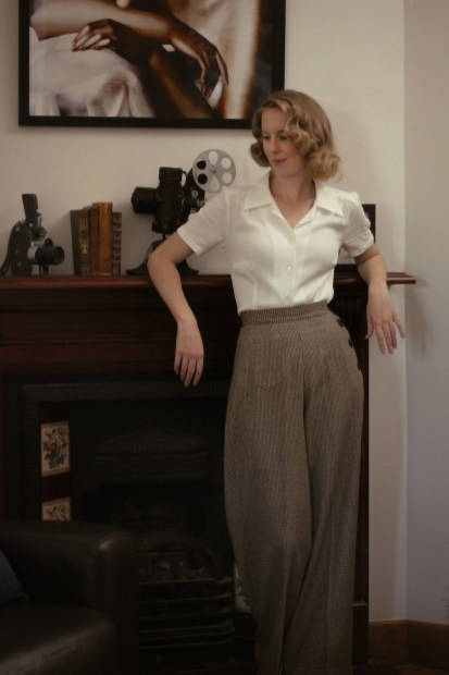 Brighton Bacall Vintage Style Blog: reproduction 1940s Katharine Trousers from Vivien of Holloway, Shirt Blouse from The House of Foxy