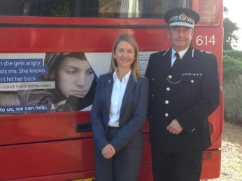 Crime Commissioner Katy Bourne and Chief Constable Martin Richards standing B&H bus. Credit: @sussex_police