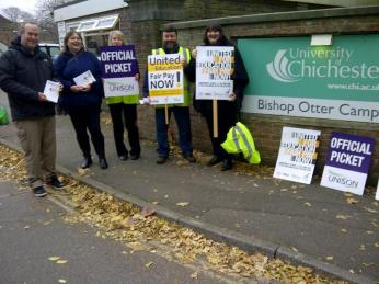 Staff at Chichester walk out. Credit: @UNISONSE