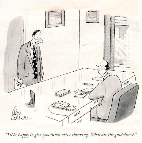 Leo Cullum cartoons on innovative thinking in the office.