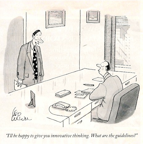 Leo Cullum cartoons on innovative thinking in the office.